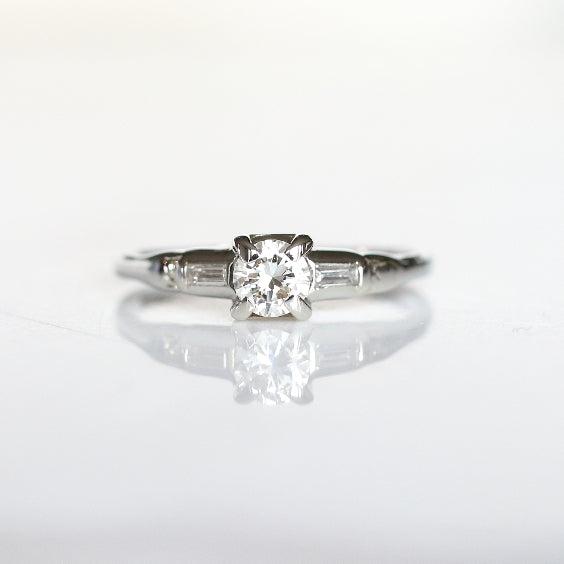 Vintage Baguette Trilogy Engagement Ring - The Gardner Ring - Evorden