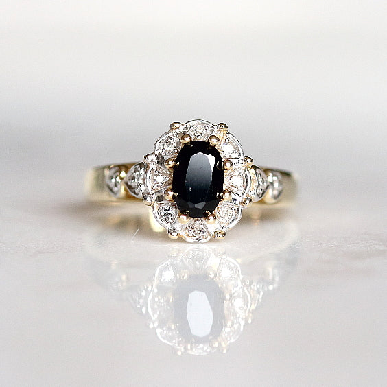 Sapphire Halo Vintage Ring - The Garbo Ring - Evorden