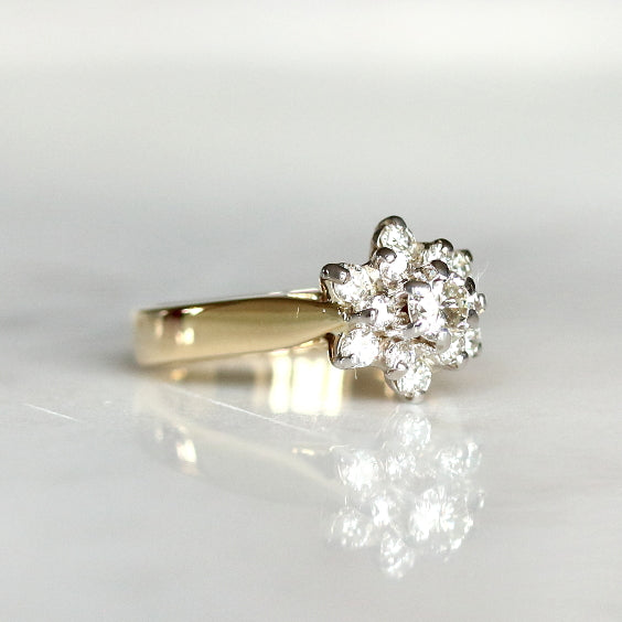 Cluster Vintage Diamond Engagement Ring - The Holiday Ring - Evorden