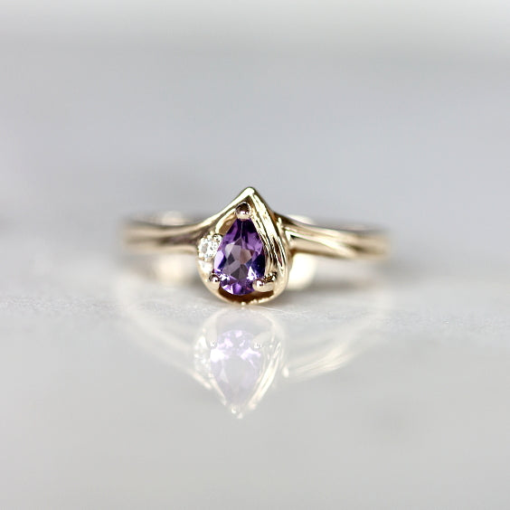 The Knightley Ring- Pear  Violet Amathyst Vintage Engagement Ring- EVORDEN
