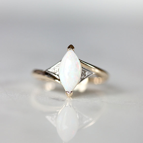 The Aniston Ring- Marquise Opal Vintage Engagement Ring- EVORDEN