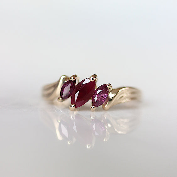 The Wyld Ring- Ruby Three Stone Vintage Ring- EVORDEN