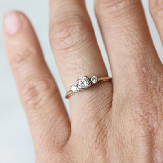 Vintage Gold Trilogy Engagement Ring - The Lawrence Ring - Evorden
