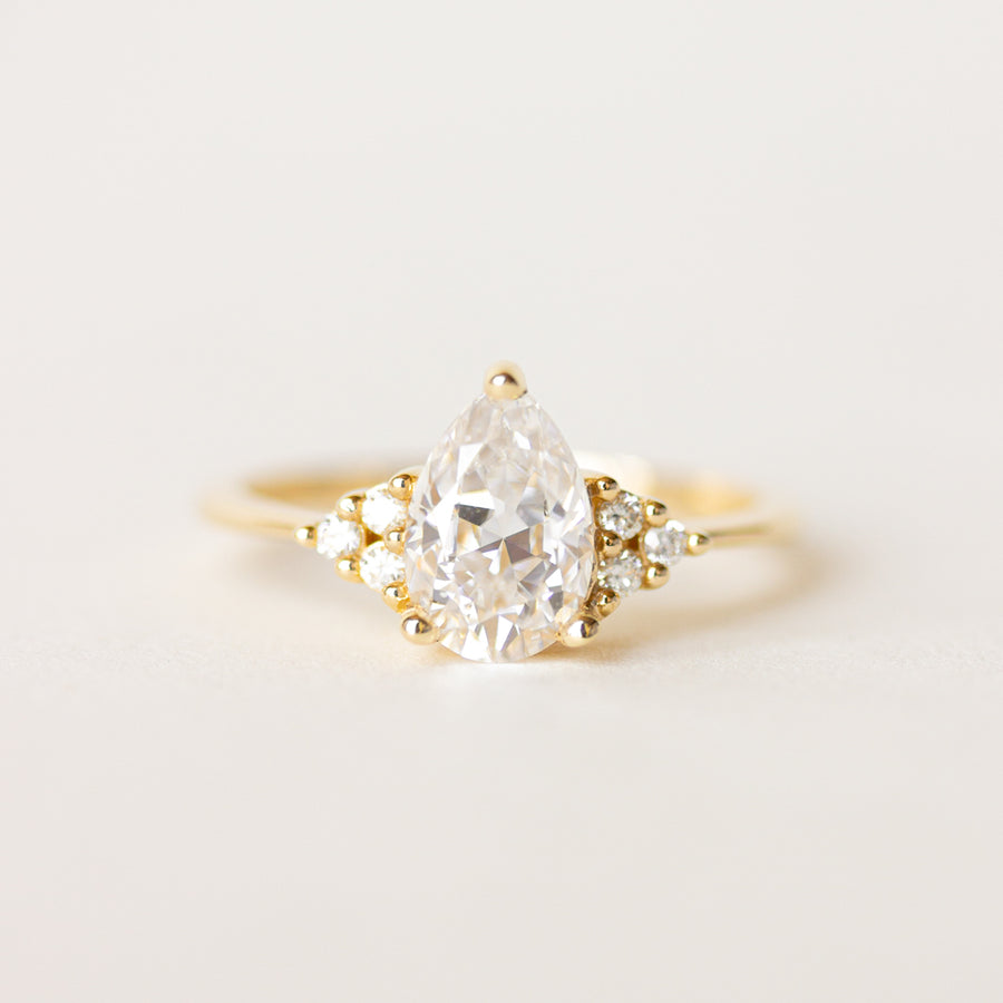 Pear Shaped Moissanite Engagement Ring