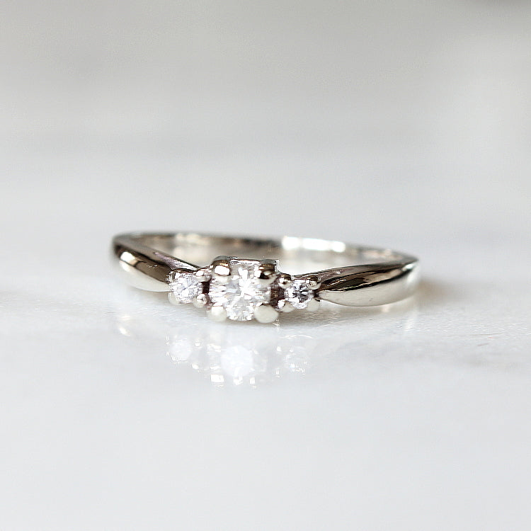 Vintage White Three Diamond Engagement - The Sarandon Ring - Evorden
