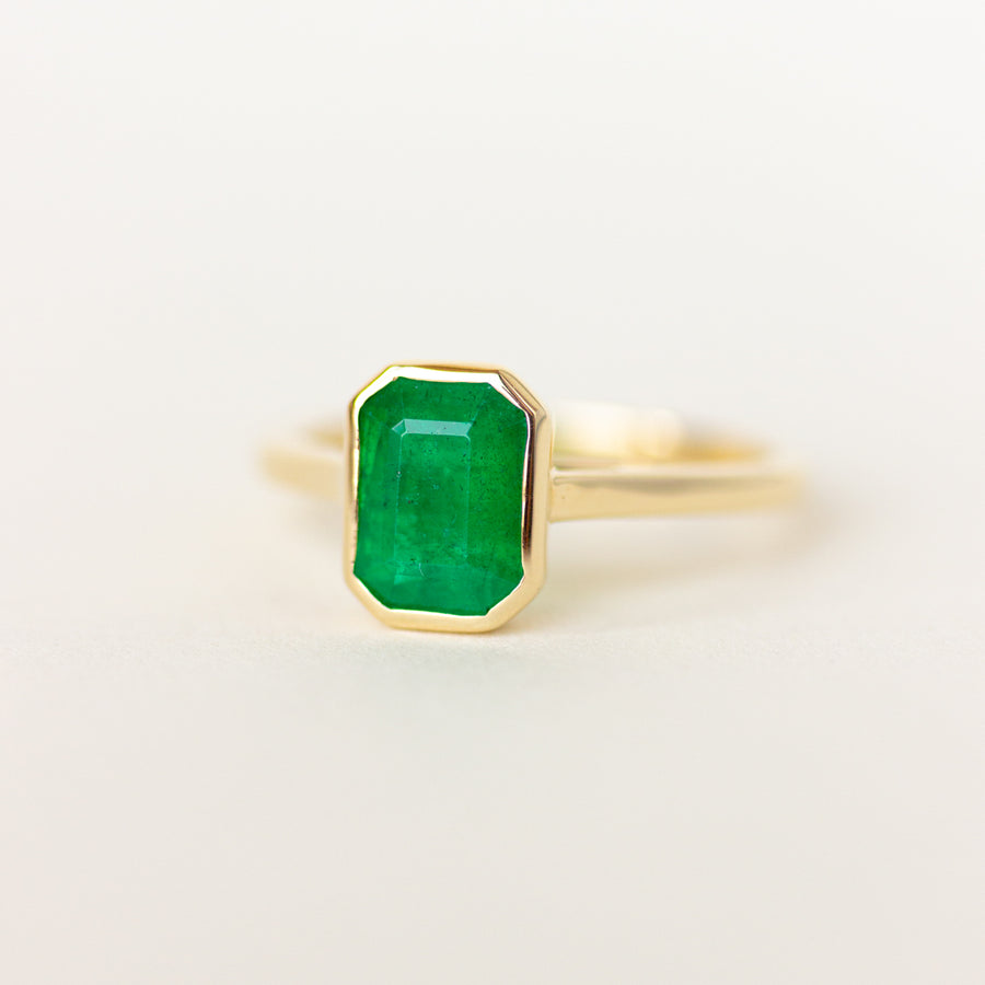 Bezel Set Emerald Engagement Ring