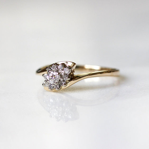 The Witherspoon Ring- Cluster Vintage Diamond Engagement Ring- EVORDEN