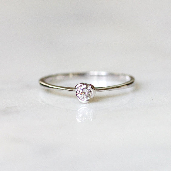 Petite White Gold Diamond Ring- The Mara Ring- EVORDEN