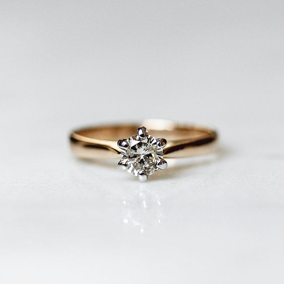 The Pfeiffer Ring- Champagne Diamond Solitaire Vintage Ring- EVORDEN