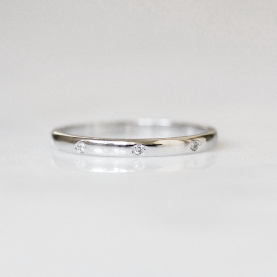 The Arquette Ring: White- Gypsy Style Vintage Diamond Wedding Band IN 14K white gold band- EVORDEN