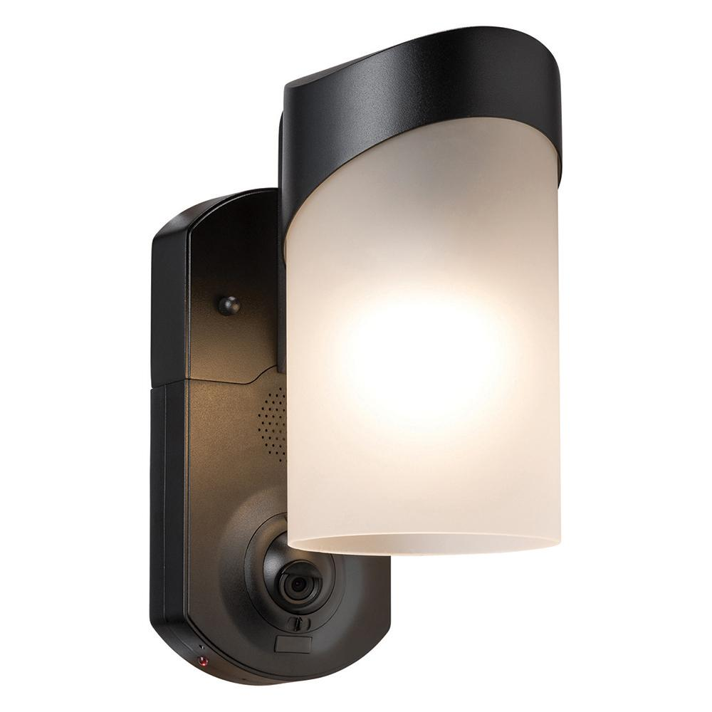 Contemporary Smart Security Black Metal and Glass Outdoor Light Fixtur