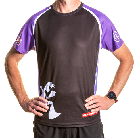 Short Sleeve T shirt Purple and Black
