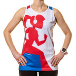 Running Girl Running Vest Blue White and Red