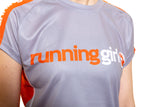 Running Girl Short Sleeve T shirt Orange and Grey