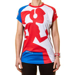 Running Girl Short Sleeve T shirt Blue White and Red