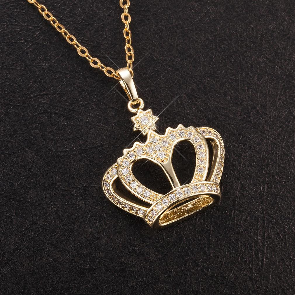 rose nature quality elegant jewelry fairy cubic for tale with silver gift rank crown crystal pendant necklace lovers zirconia cz high sterling jewel genuine gold fashion