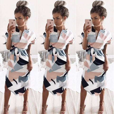 V-Neck Printed Dress