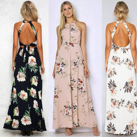 Sexy Backless Printed Vintage Long Skirt Dress