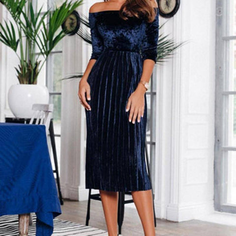 Women Solid Long Off Shoulder Dress