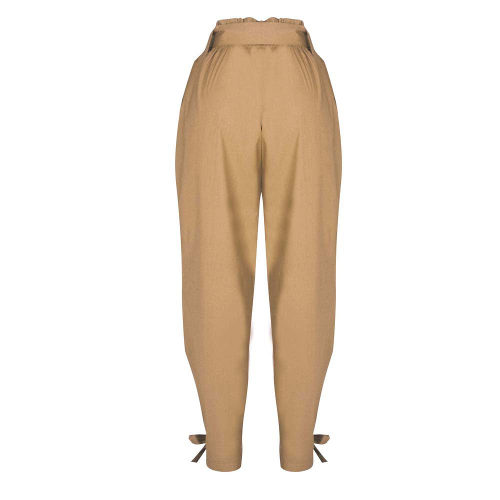 Belted High Waist Trousers Party Casual Pants