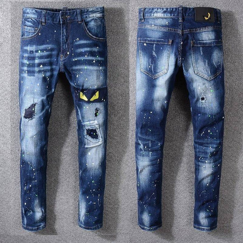 Men's Distressed Monster's Yellow Eyes Jeans | Crypto Fashion House