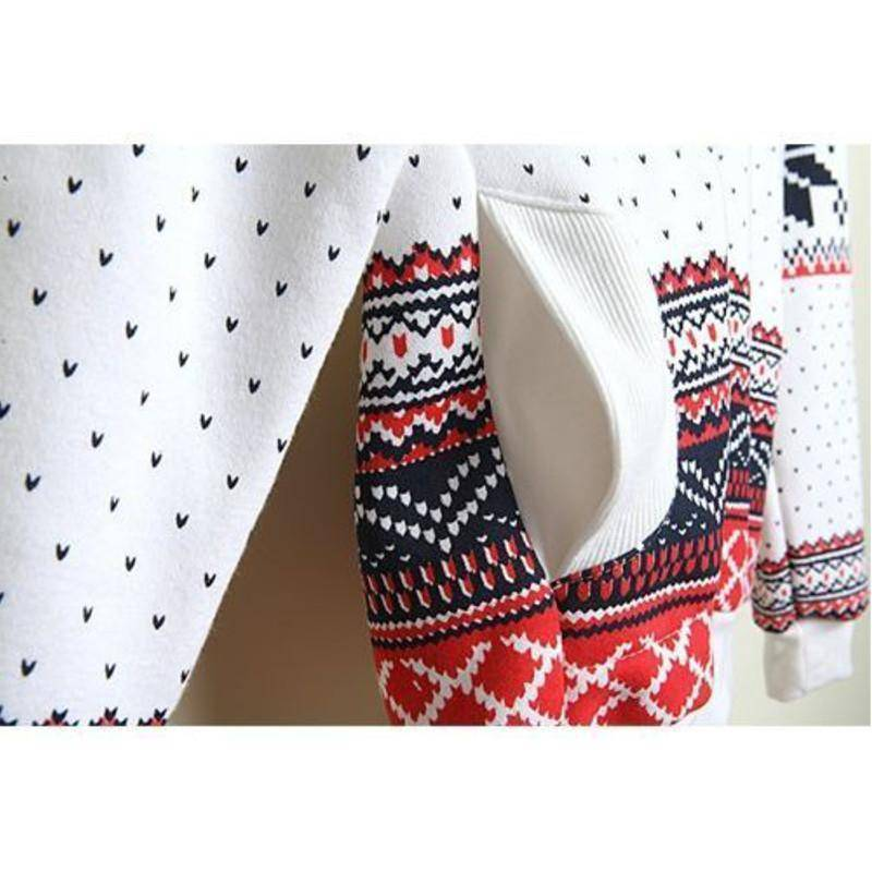 Pullovers Harajuku Snowflake Printed Coat White Hoodies