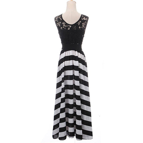 Image of Boho Hollow Out Lace Crochet Stripe Sleeveless Dress
