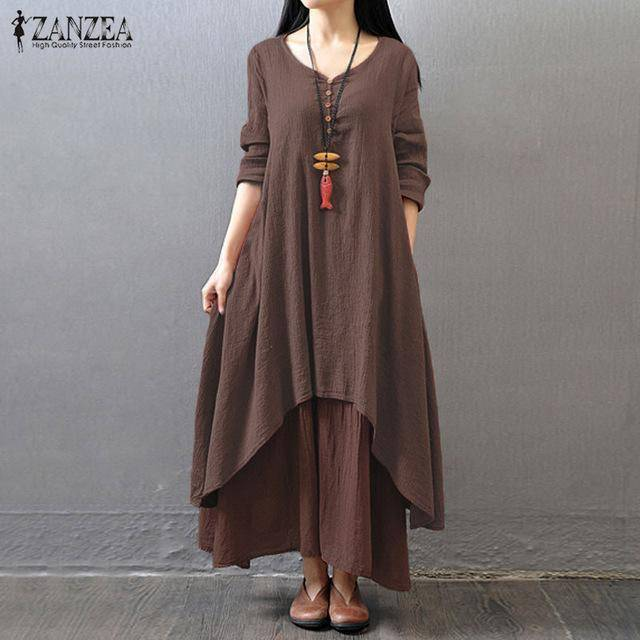 Zanzea V-Neck Buttons Long Sleeve Loose Irregular Maxi Dress