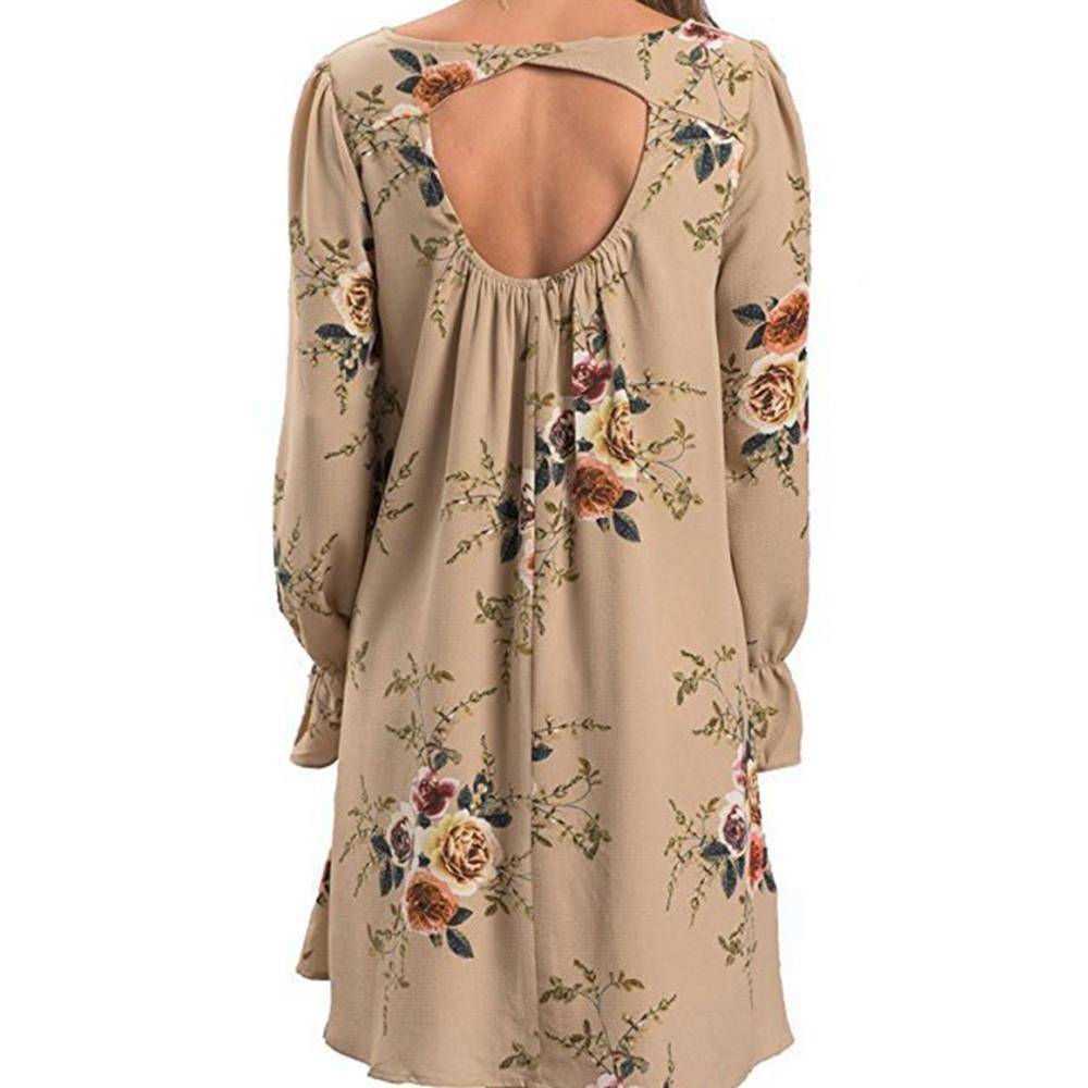 boho Dress V Neck Backless Autumn Long sleeve dress