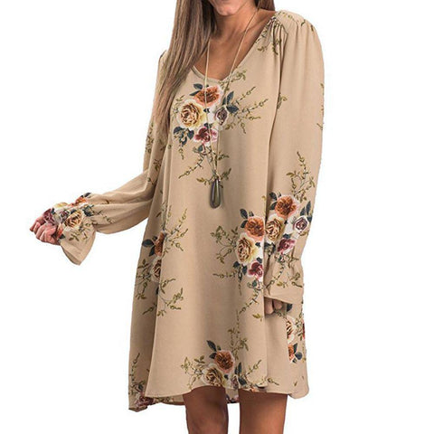 Image of boho Dress V Neck Backless Autumn Long sleeve dress