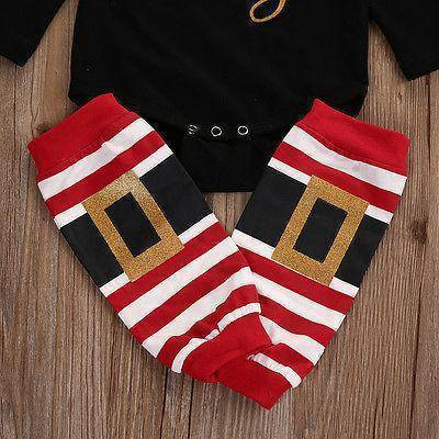 Image of 3pcs Set Baby Long Sleeve Romper Leg Warmers Christmas Outfits Clothes