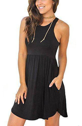 Unbranded Women's Sleeveless Loose Plain Dress|  Casual Short Dress with Pockets