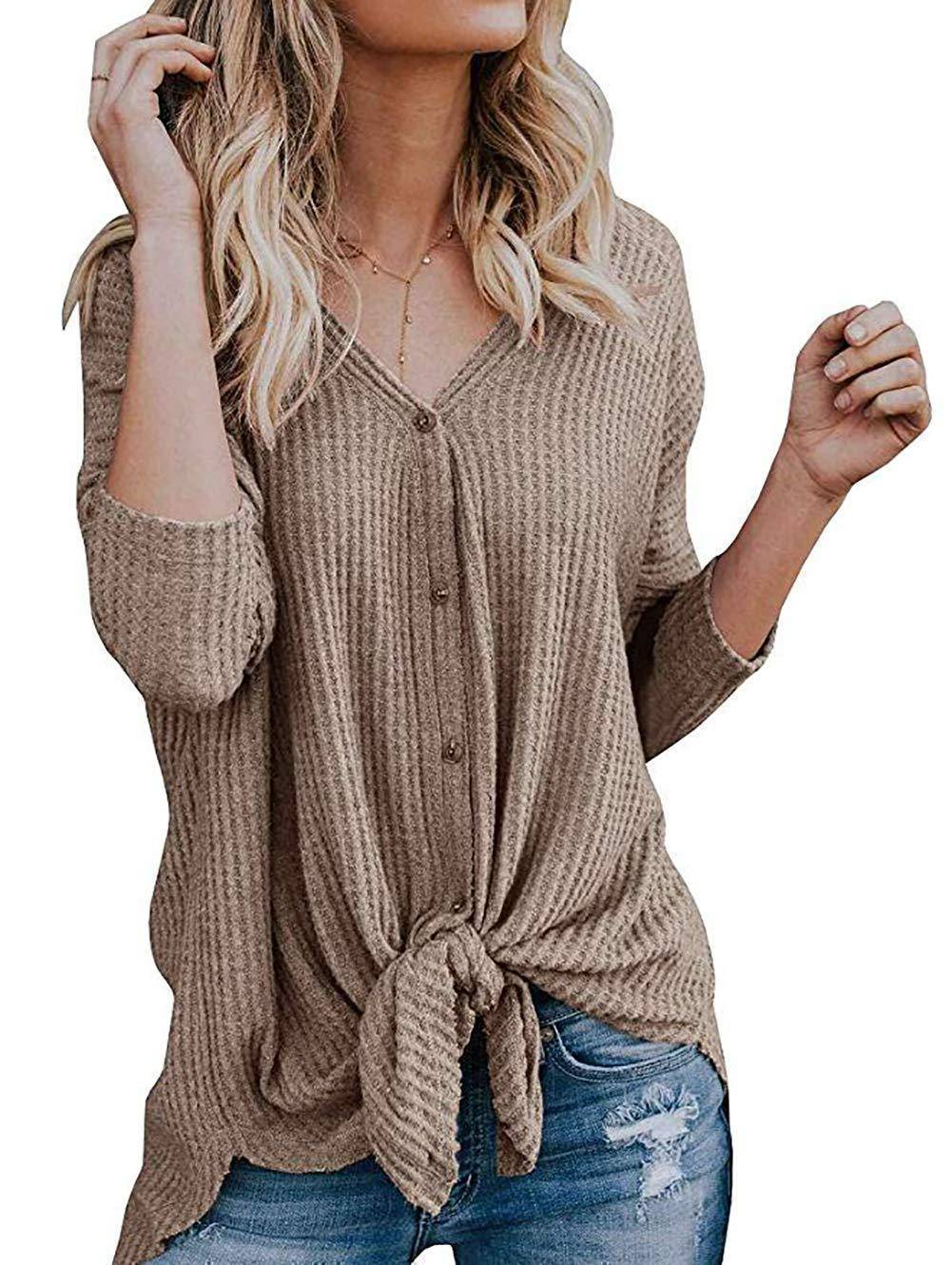 Waffle Knit Tunic Blouse | Tie Knot Henley Tops | Loose Fitting Bat Wing Plain Shirts