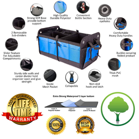 Portable Multi Compartments Heavy Duty Non-Slip Cargo Trunk Organizer