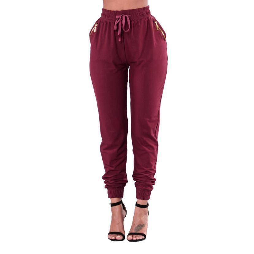 Fashion Pocket Zipper Casual High Waist leggings