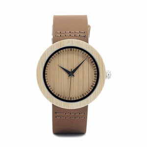 Luxury Leather Strap Bamboo Watches