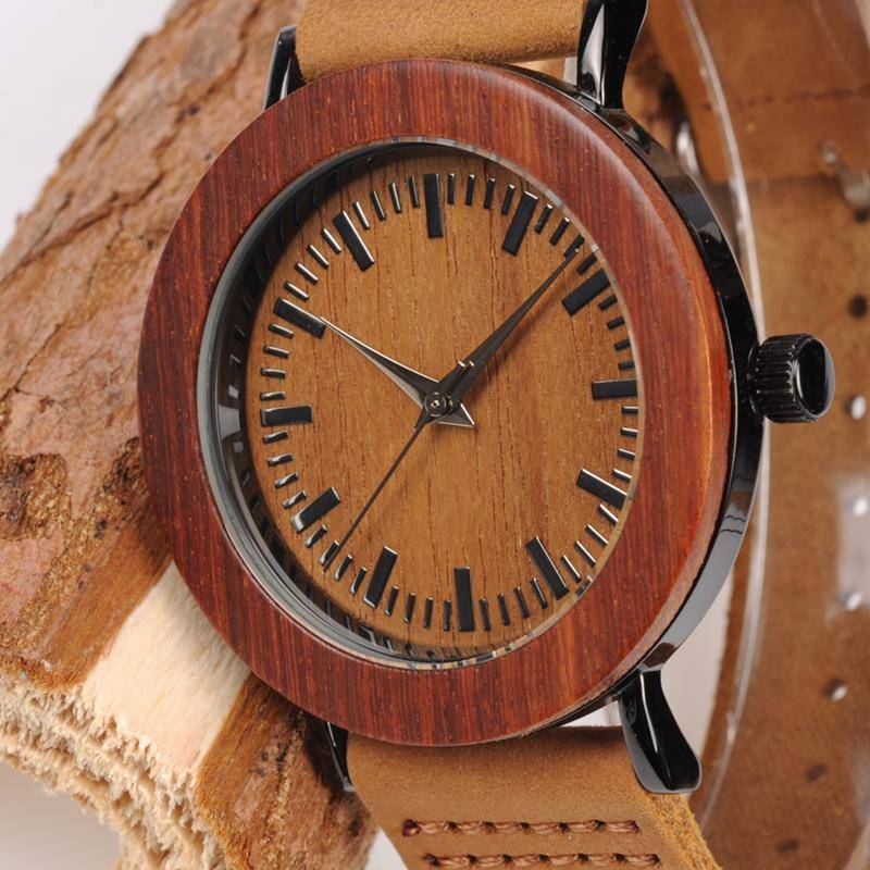 BOBO BIRD Retro Wood Dial Brown wooden watch