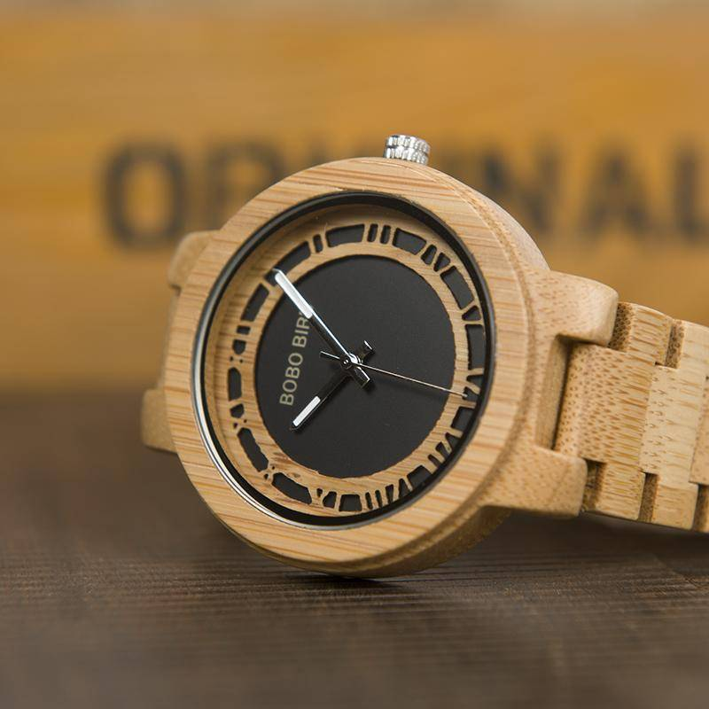 BOBO BIRD WN19 Wooden Watch Roman  Face