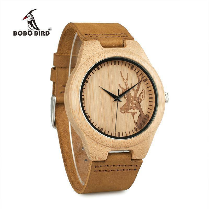 BOBO BIRD WN20 Elk Deer Head Bamboo Wooden Watch