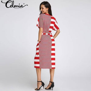 Celmia Boho Striped Patchwork Pockets Dress