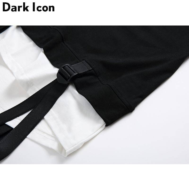 Color Black Ribbon Curved Hem Hiphop Short Sleeve T-shirt