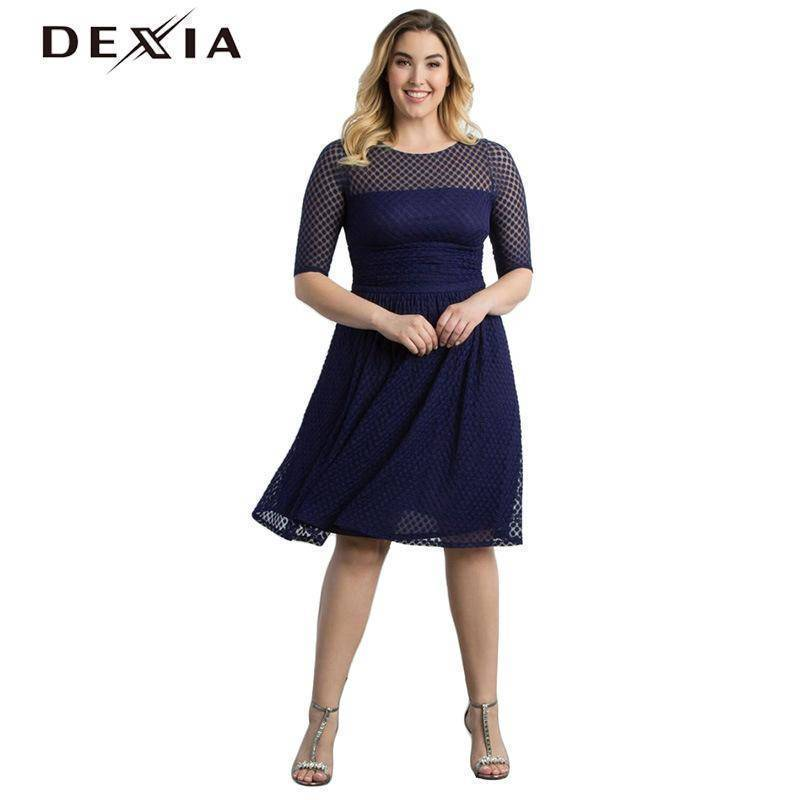 DEXIA Half Sleeve A Line Club Party Dresses