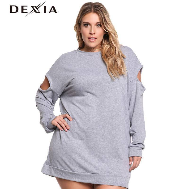DEXIA Autumn New Fashion Women Dress 2017 Full Sleeve Hollow Out O Neck Party Dresses