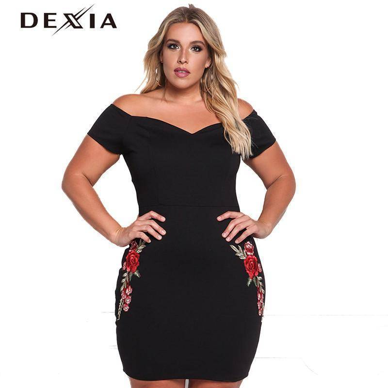 DEXIA Bodycon Embroidery Short Sleeve Women Dress 2017 Summer Plus Party Dresses