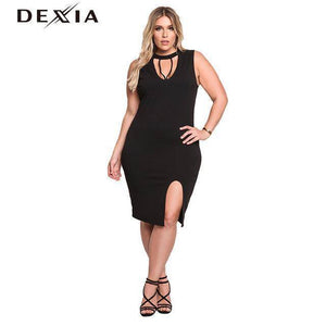 DEXIA Elegent Sweater Halter Sleeveless Slit Black Dress