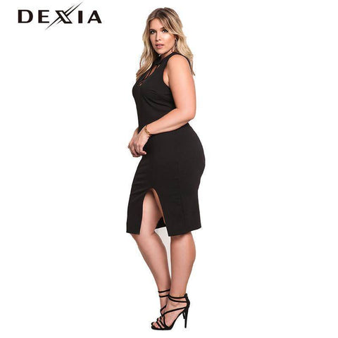 Image of DEXIA Elegent Sweater Halter Sleeveless Slit Black Dress