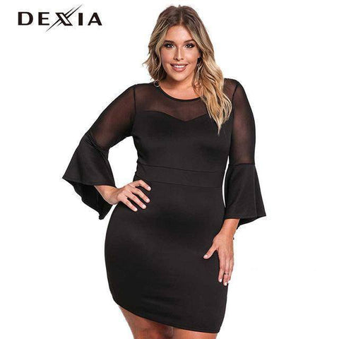 Image of DEXIA Flare Long Sleeve O-Neck Spring Mesh Dress
