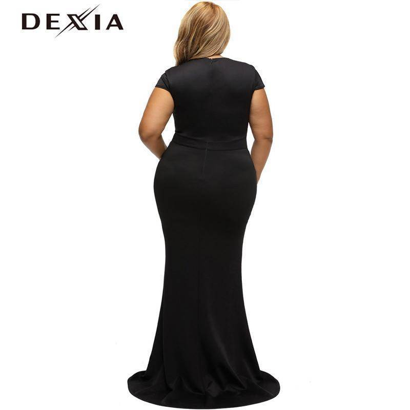 DEXIA Floor-Length V Neck Short Sleeve Party Dresses
