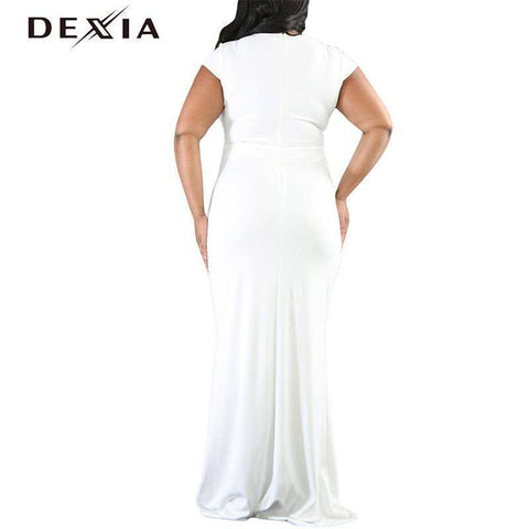 Image of DEXIA Floor-Length V Neck Short Sleeve Party Dresses