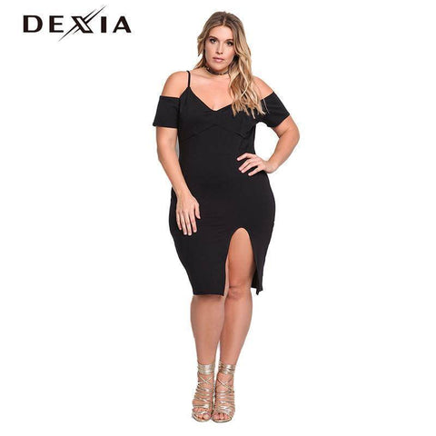 Image of Sexy Black Dress Solid Short Sleeve